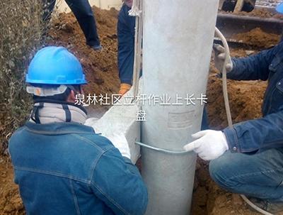 汶河湿地项目立杆作业